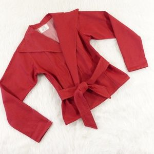 Lola Red Cotton Belted Jacket